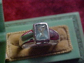 Ladies sterling ring with  blue topaz