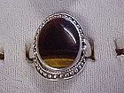 Ladies sterling silver and tiger eye ring, size 7