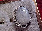Large sterling silver ladies ring with light blue agate