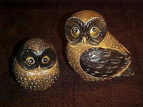 Mamma and baby owl figurines , OMC Otagiri