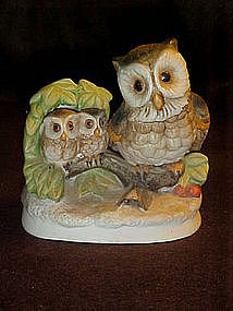 Homco porcelain Owl family