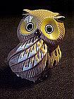 Signed owl figurine, pottery