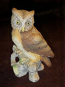 Lefton  brown owl on a branch figurine