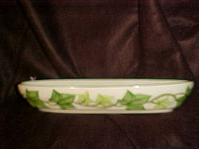 Franciscan ivy, oval relish dish, green trim,California