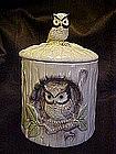 Vintage Owl in a stump cookie jar,owl finial