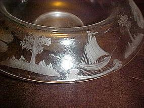 Vintage wheel cut center bowl, pagoda, boat, island