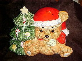Santa bear and Christmas tree, cookie jar