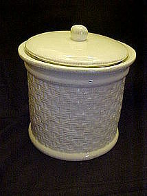 Large white ceramic basketweave cookie jar