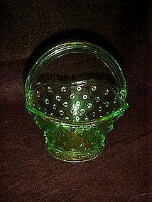 Green hobnail glass basket