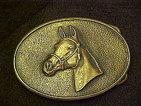 Solid brass buckle with horse head, by BTS