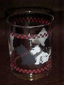 Black and white scotty dogs, whiskey glass
