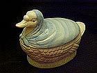 Grandma goose with blue cloak, cookie jar