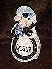 Adorable dairy cow  with blue bonnet  cookie jar