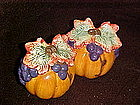 Pumpkins, grapes and vines, salt and pepper shakers