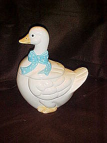 Little goose cookie jar with polka dot bow