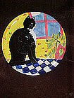 Hand painted black and white cat plate, Certified Int.