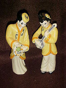 Ceramic Arts Studios Japanese pair, playing instruments