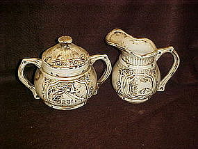 Large ceramic creamer and sugar set, homestead