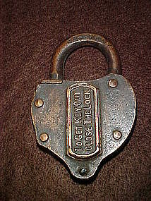 Antique brass switch lock, heart shape 1800's
