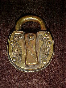 Antique brass padlock,