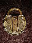 Antique brass padlock,