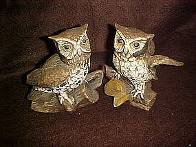 Homco bisque owl figurines, matched pair # 1114