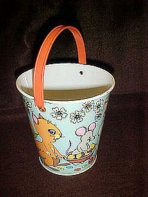 Chein vintage tin sand pail,  Easter parade of animals