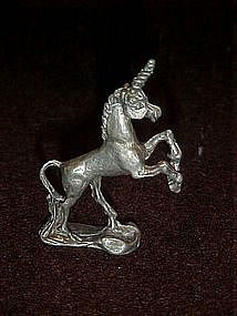 Miniature pewter unicorn figurine