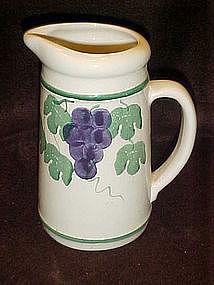 Crock shop juice pitcher, grapes and vines pattern