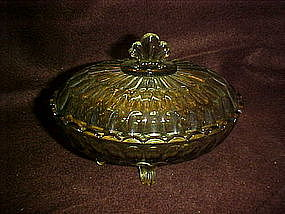 Fenton Colonial thumbprint covered candy dish, green
