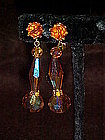 Gold aurora crystal dangle earrings