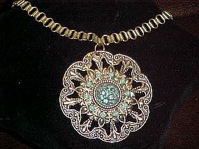Boho look, faux turquoise and silver filigree pendant
