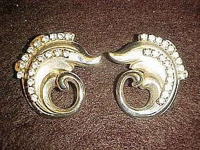 Vintage dolphin shape earrings with rhinestones