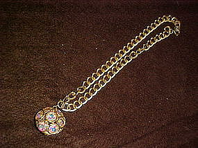 Vintage chocker pendant with aurora rhinestones