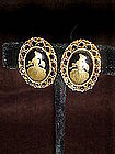 Vintage clip earrings with southern belle center