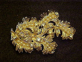 Large Dalsheim  gold  pin  with pearls and rhinestones