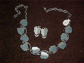 Vintage blue leaf choker necklace and  earring set