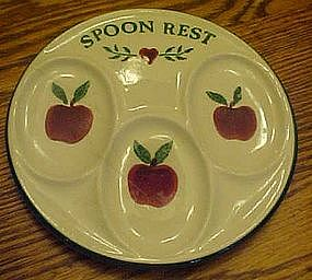 Crock shop, apple pattern spoon rest
