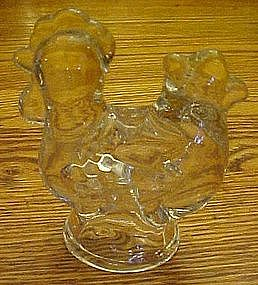 Clear glass chicken candle holder
