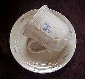 Aunt Rhody blue goose cup and saucer, by Brick Oven
