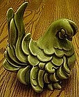 Freeman Mcfarlin green glaze hen, Kaye Finch mold