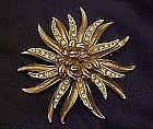 Coro  starburst pin with rhinestone accents