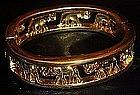 Great elephant walk hinged bracelet, rhinestone eyes