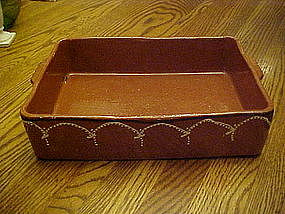 Mexican  clay pottery, enchilada pan, decorated