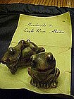 Hand made pottery frogs souvenir of Eagle River Alaska