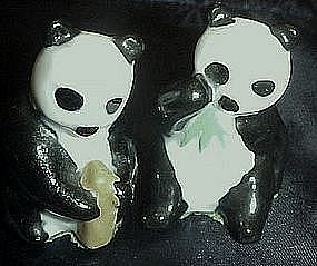 Miniature pair of porcelain panda bears