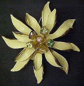 White Poinsettia with rhinestones pin, BSK