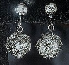 Vintage rhinestone  dangle ball  earrings