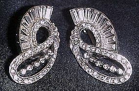 Wiesner clip earrings, rhinestones and baguettes