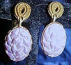 Goldette lavender glass earrings, screw/clip backs